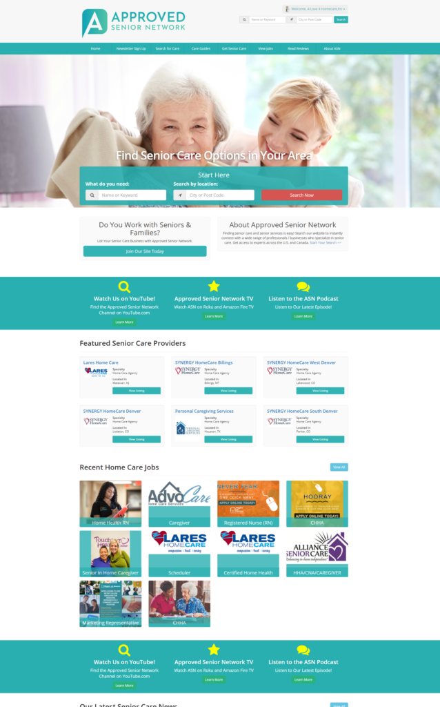 SEnior Care Website Sample
