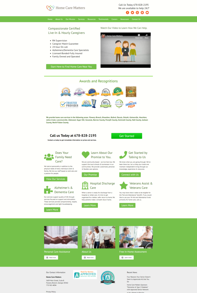 Home Care Website Sample