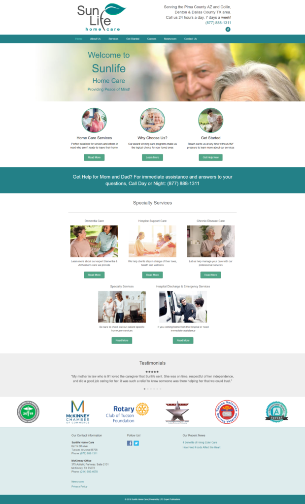 SEnior Care Website Sample 2